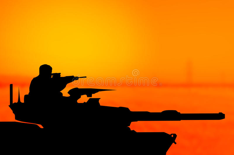 Army tank silhouette concept royalty free illustration