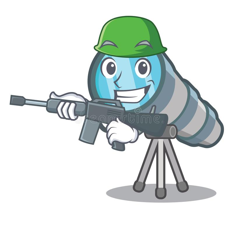 Army telescope isolated with in the mascot. Vector illustration vector illustration