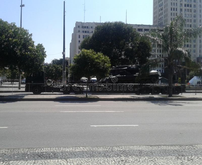 Army truck and tank brazilian independence day parade. 09-07-2019 Brazilian independence day parade. Army truck and tank in Presidente Vargas avenue Rio de royalty free stock image