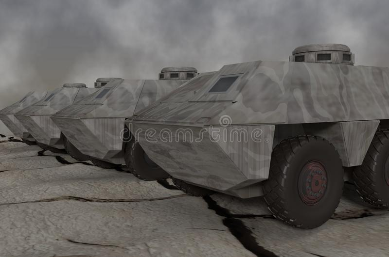 Army vehicles. This is army vehicles that awaiting orders royalty free illustration