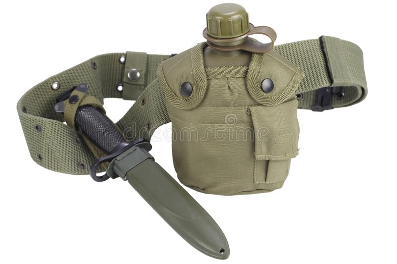 Army water canteen with bayonet and pistol belt. Isolated royalty free stock photos