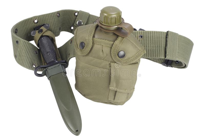 Army water canteen with bayonet and pistol belt. Isolated royalty free stock images