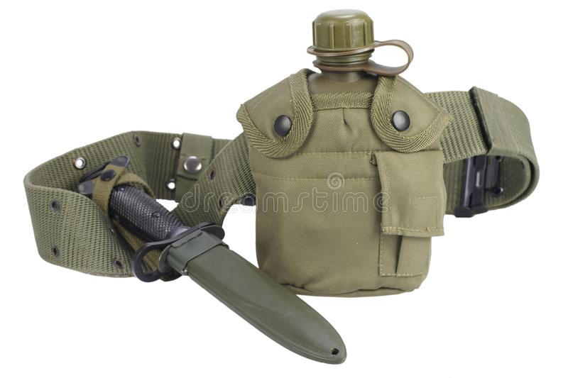 Army water canteen with bayonet and pistol belt. Isolated stock images