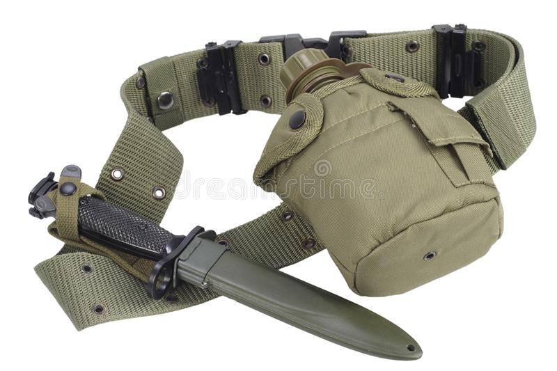 Army water canteen with bayonet and pistol belt. Isolated stock photos