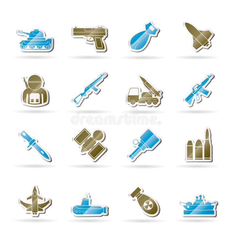 Download Army, Weapon And Arms Icons Stock Image - Image: 21850391