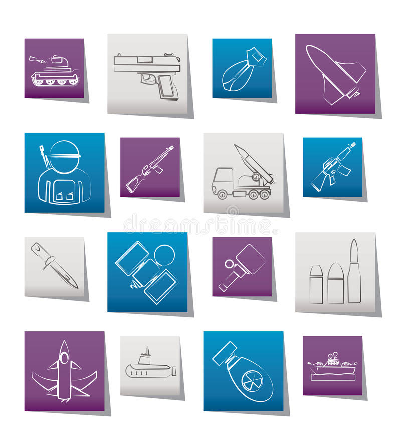 Army, weapon and arms Icons stock illustration