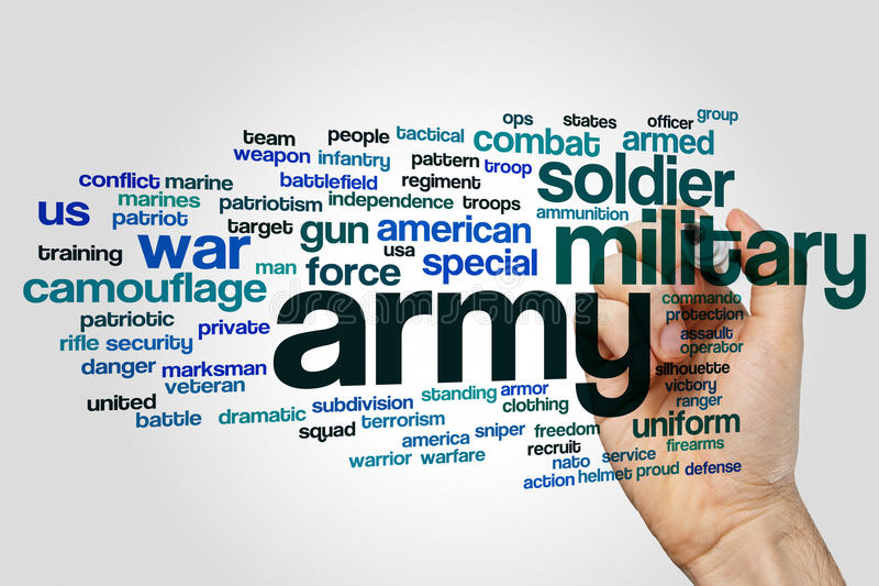Army word cloud. Concept on grey background stock photos