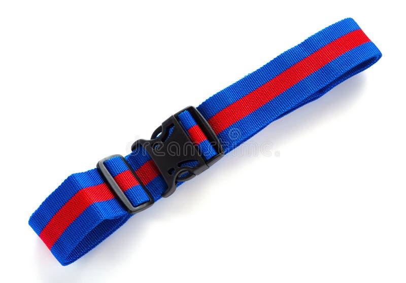 Arnés azul y rojo con las hebillas negras en el bckground blanco imagen de archivo