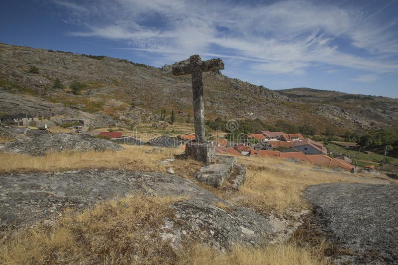 ARNAL, PORTUGAL, 16 SEP 2016. A view from Arnal Village, located in Serra do Alvão, Portugal royalty free stock photography