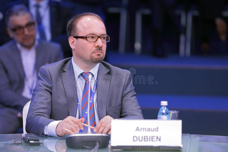 Arnaud Dubien. SAINT-PETERSBURG, RUSSIA - JUN 16, 2016: St. Petersburg International Economic Forum SPIEF-2016. Arnaud Dubien, Director of the Observatoire stock photo