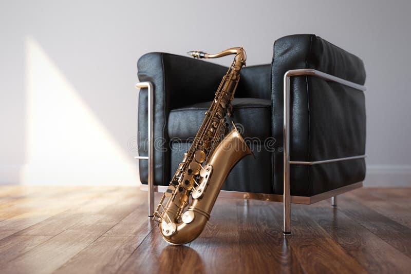 Arnchair de couro acolhedor com o saxofone na sala brilhante clássica fotografia de stock