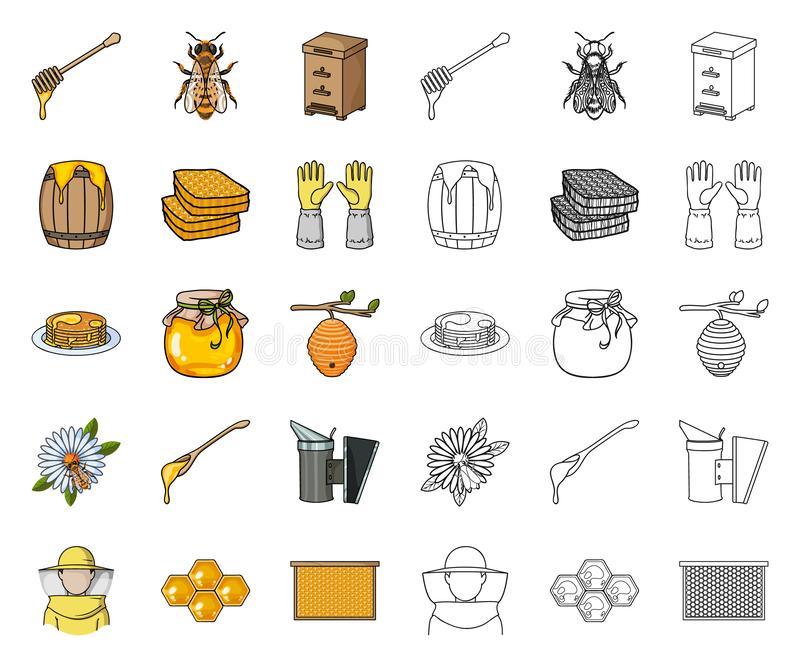Arnia e fumetto di apicoltura, icone del profilo nella raccolta stabilita per progettazione Attrezzatura e produzione del simbolo royalty illustrazione gratis