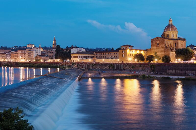 Arno river and cityscape of Florence, Italy royalty free stock image