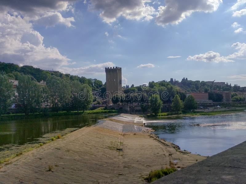Arno river in Florence in a sunny day. Tuscany, Italy royalty free stock photos