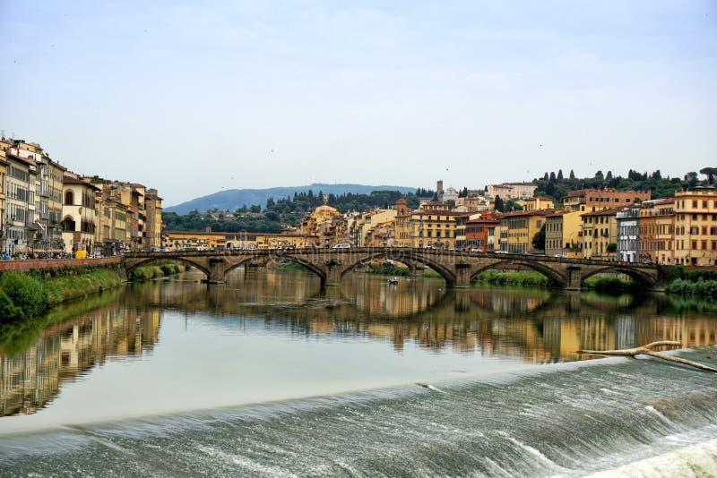 Arno sul tramonto a Firenze fotografia stock
