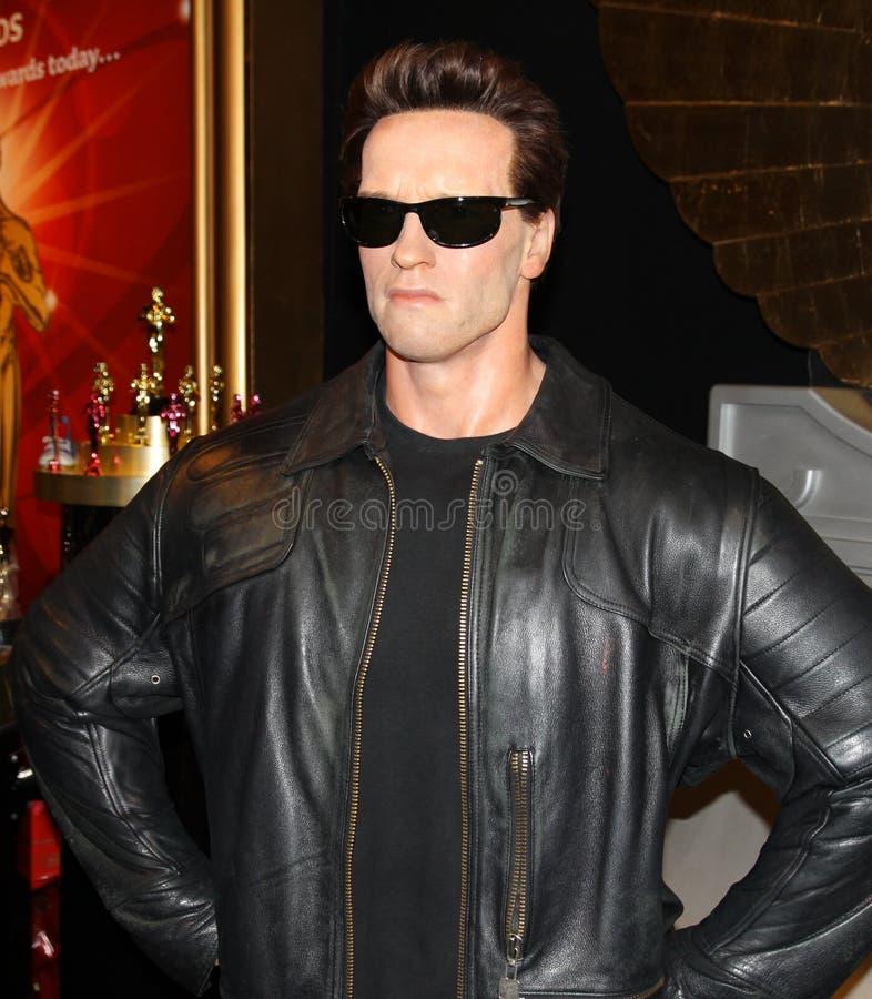 Arnold Schwarzenegger bij Mevrouw Tussaud's stock afbeelding