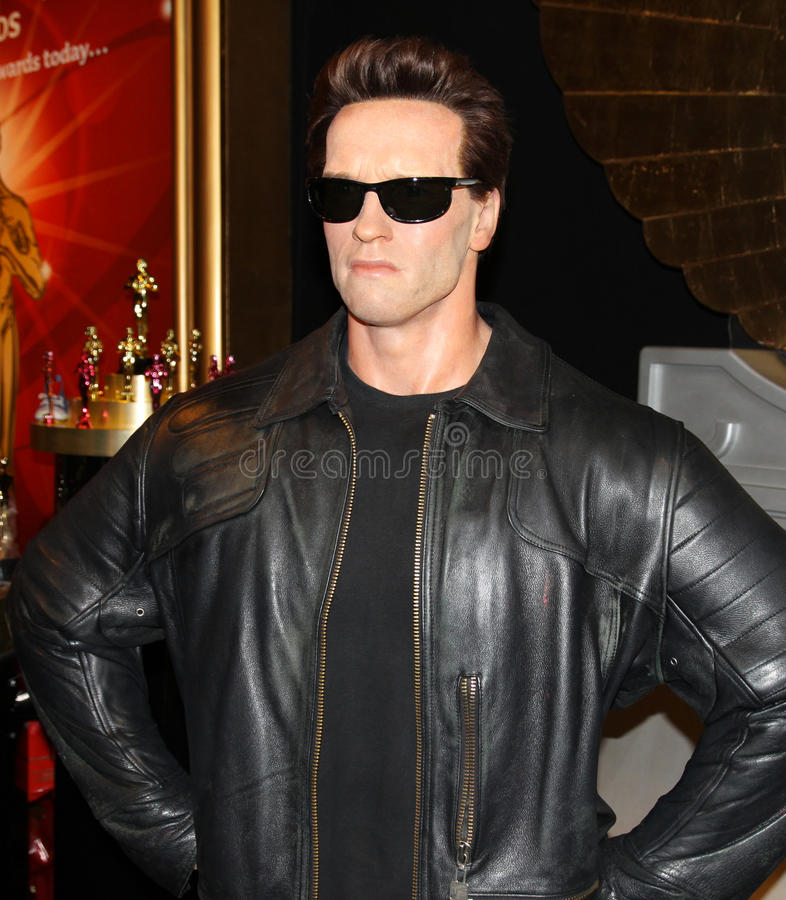 Arnold Schwarzenegger at Madame Tussaud's stock image