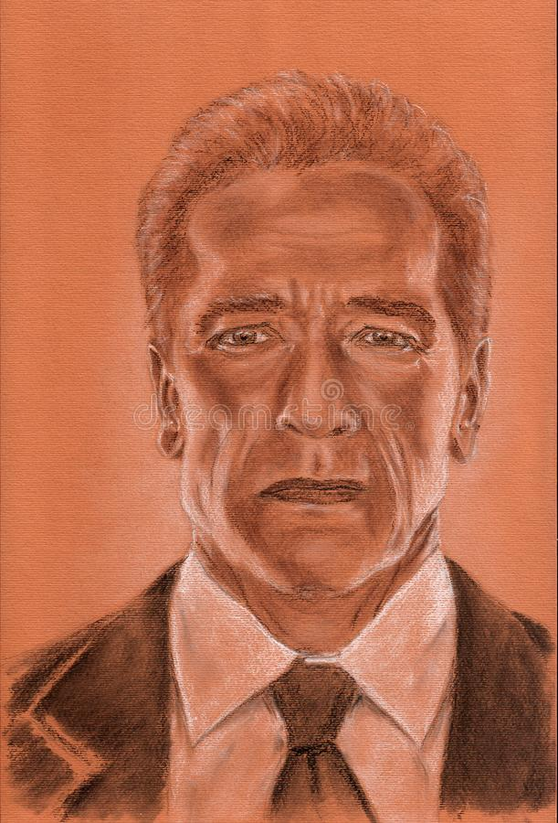 Arnold Schwarzenegger talanted actor artistic portrait royalty free illustration