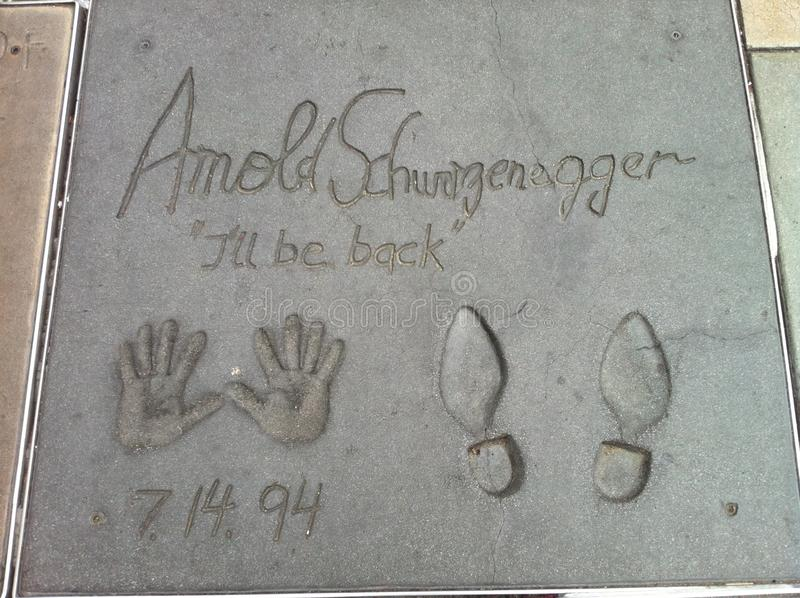 Arnold Schwazenegger Walk de la fama imagenes de archivo