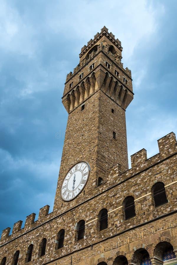 Arnolfo torn, Palazzo della Signoria och Palazzo Vecchio, Piazz royaltyfri bild