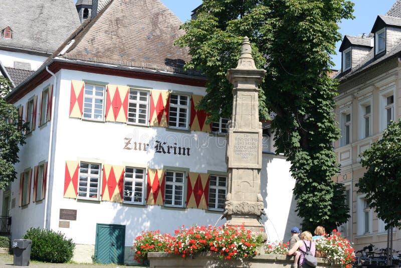 Arnsberg gammalt stadshus med springbrunnen arkivfoto