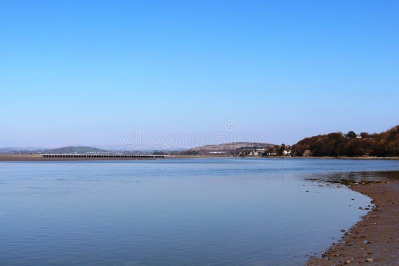 Arnside-Viadukt und Fluss-Kent-Mündung, Cumbria lizenzfreie stockbilder