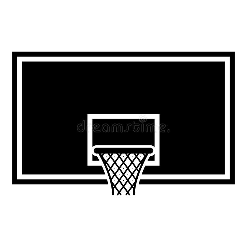 Aro de baloncesto del tablero trasero de baloncesto en imagen plana del estilo del ejemplo del vector del color del negro del ico ilustración del vector