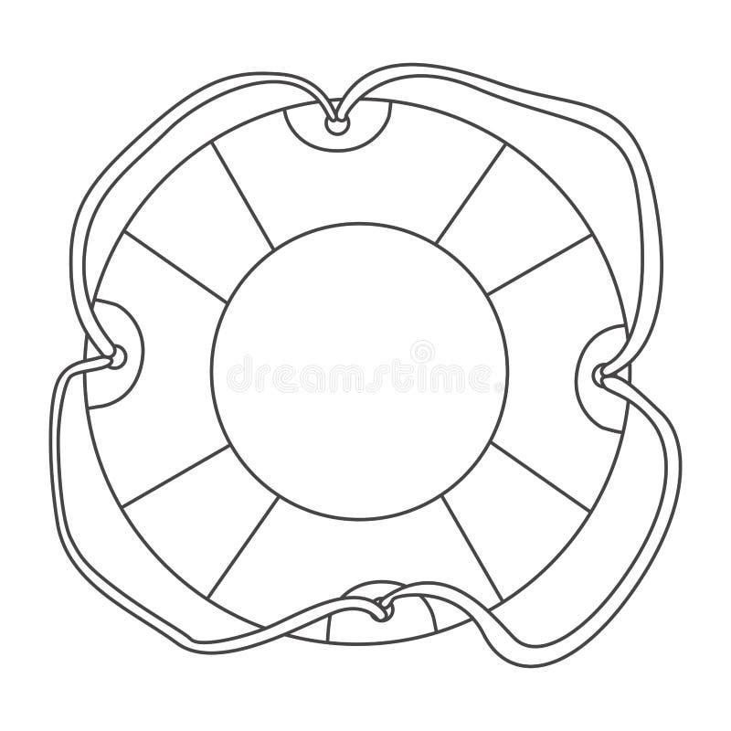 aro de la flotación del contorno del bosquejo con la cuerda ilustración del vector