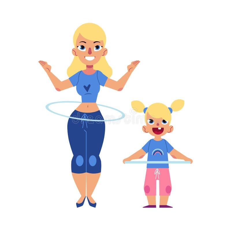 A aro lisa do hula da criança e da mulher da menina do vetor exercita ilustração royalty free