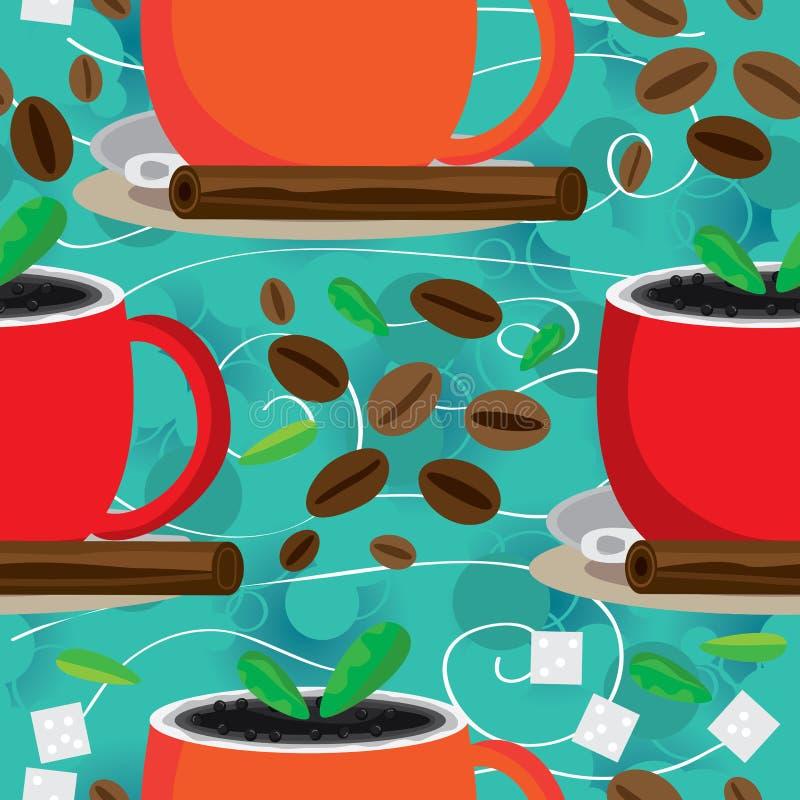 Arom runt om Seamless modell för kaffe royaltyfri illustrationer