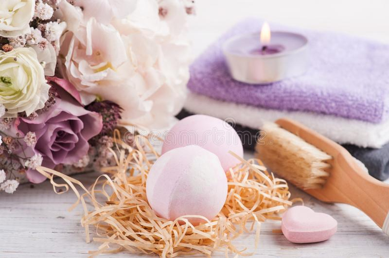 Aroma bath bombs with pink purple bouquet stock photo