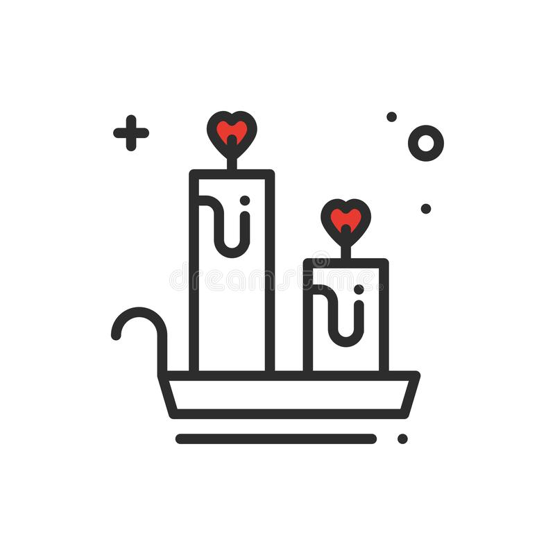Aroma candle line icon. Heart sign and symbol. Love romantic spa aromatherapy aroma wellness relaxation theme. Aroma candle line icon. Heart sign and symbol vector illustration