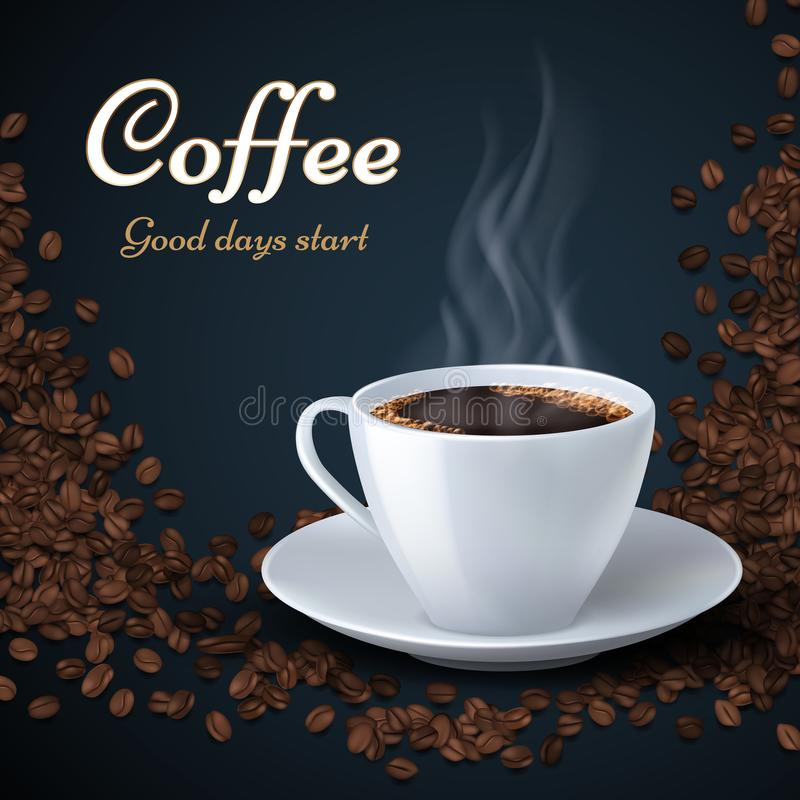 Aroma coffee beans and cup of hot coffee. Product ads vector background royalty free illustration