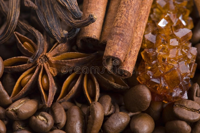 Aroma coffee ingredients stock photography