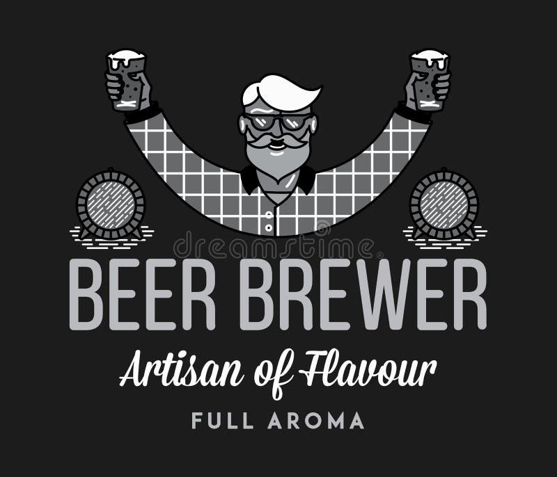 Aroma completo del cervecero de la cerveza blanco en negro libre illustration