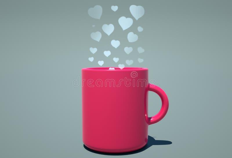Aroma der Liebe kommend vom Kaffee stock abbildung