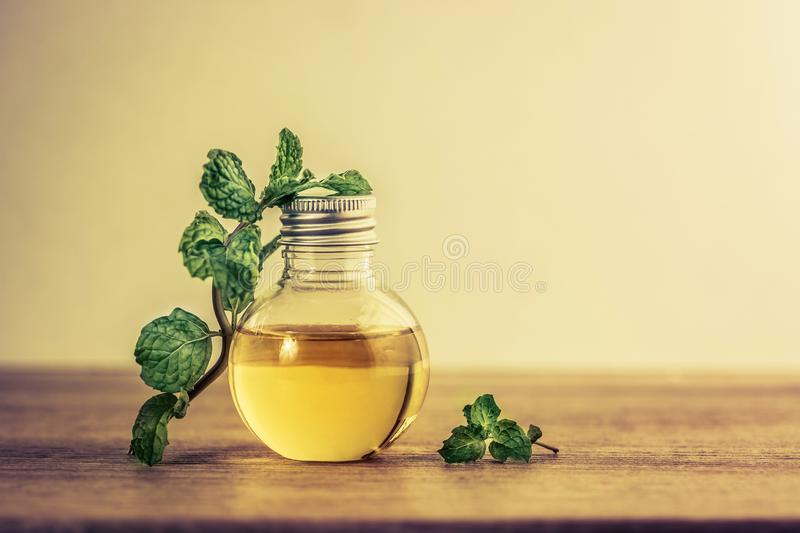 The Aroma essential oil from peppermint in the bottle on the tab royalty free stock images