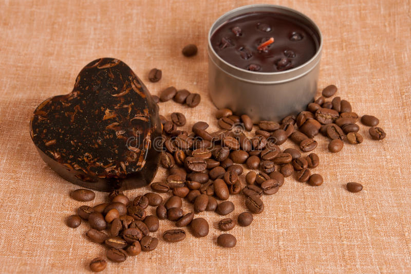 Aroma handmade soap and candle and coffee beans royalty free stock photos