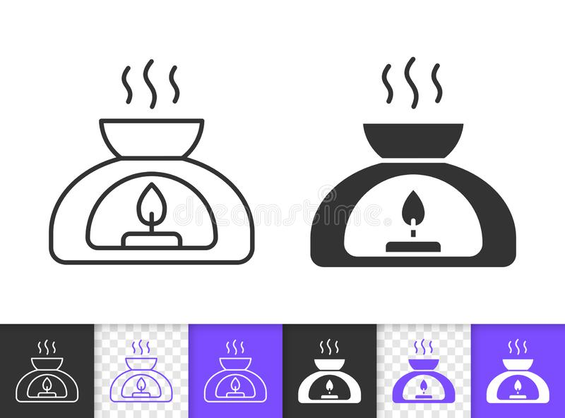 Aroma Lamp spa aromatherapy line vector icon. Aroma Lamp black linear and silhouette icons. Thin line sign of aromatherapy. Meditation outline pictogram isolated vector illustration