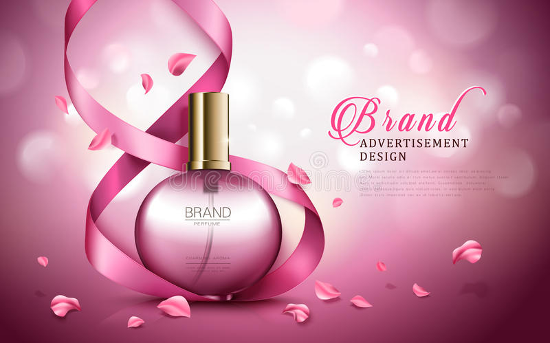 Aroma perfume ad. Charming aroma perfume ad, contained in round pink bottles, valentine`s day special dark pink background stock illustration