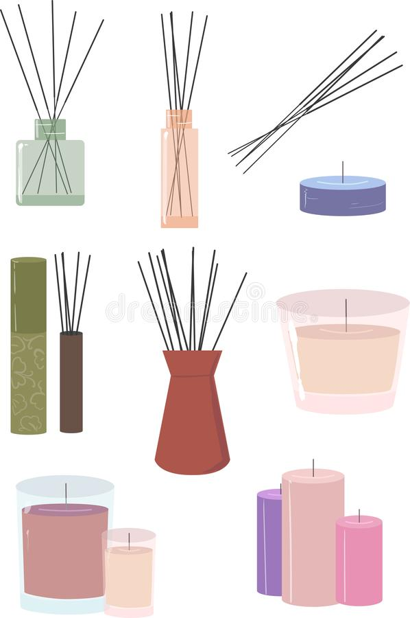 Aroma stics and candles vector illustration