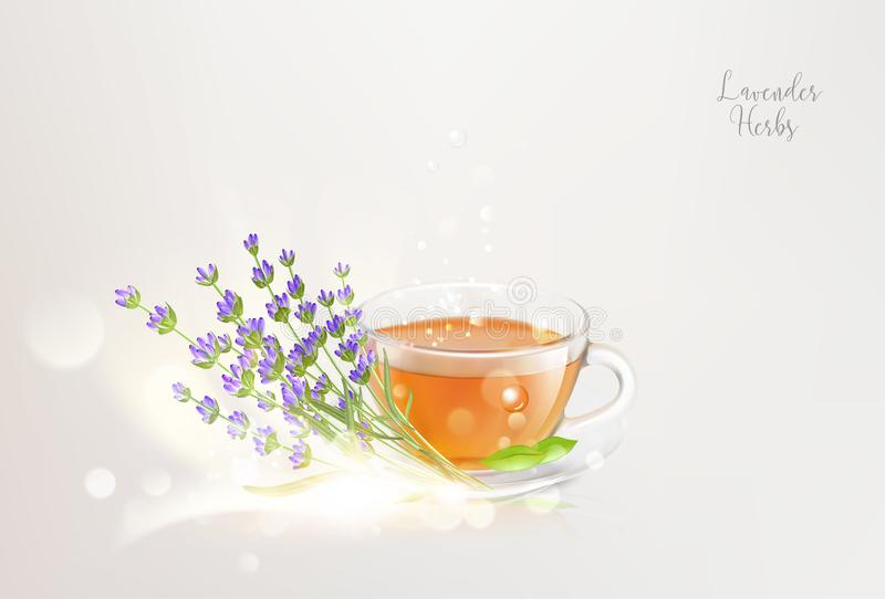 Aroma teacup with lavender on saucer and bokeh light over gray background. royalty free illustration