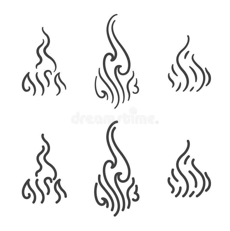 Aroma- und Rauchdampflinie Kunstikonenvektorsatz vektor abbildung