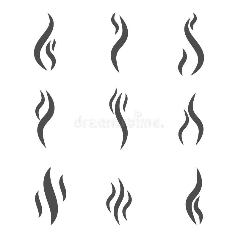Aromageruchikone Stellen Sie von der Rauchvektorikone ein Rauch, Dampf, Aroma, Geruch vektor abbildung