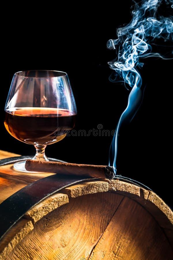 Aromat Kubańscy cygara i koniak fotografia royalty free