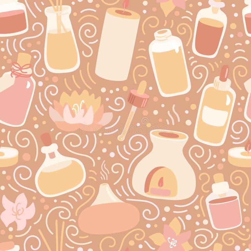 Aromaterapia a pattern senza saldatura Candele a scarabeo tratte a mano, lampade ad aroma e bottiglie di olio essenziale sull'bei illustrazione di stock