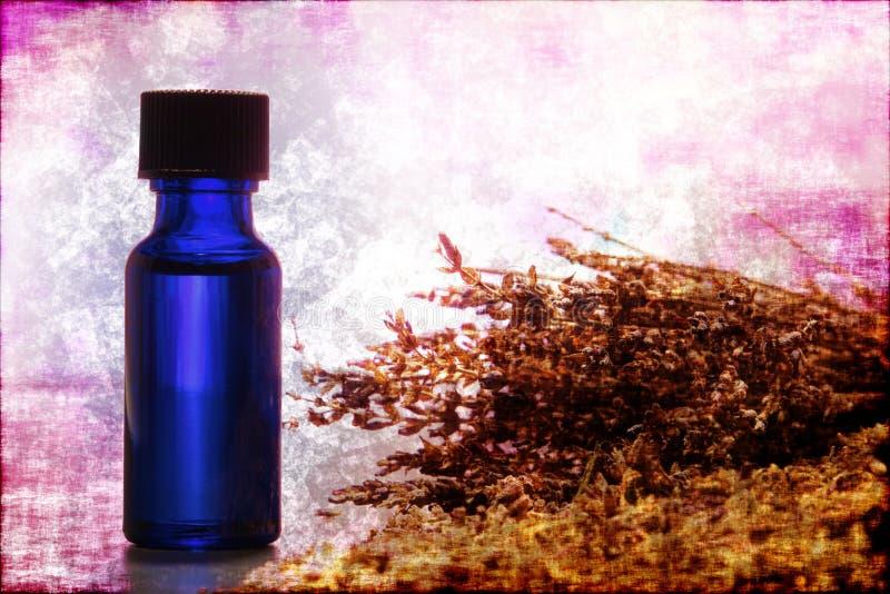 aromatherapy瓶重要解压缩熏衣草油 图库摄影