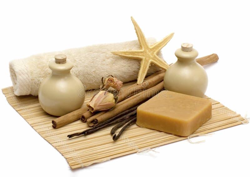 Aromatherapy & schoonmakende producten stock foto