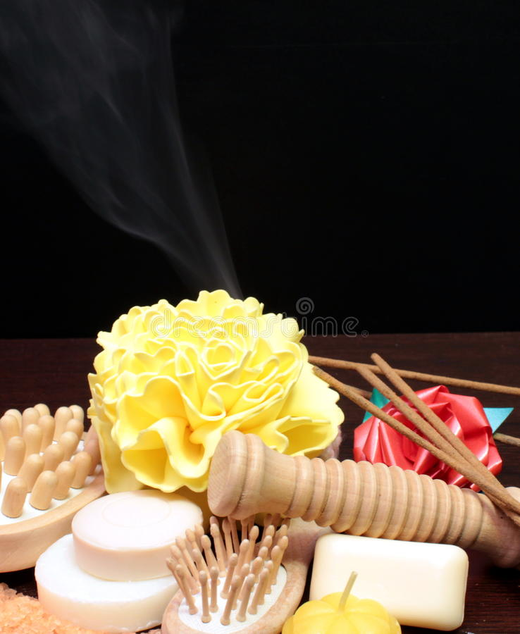 Aromatherapy. Aromatic salt and objects for aromatherapy stock photo