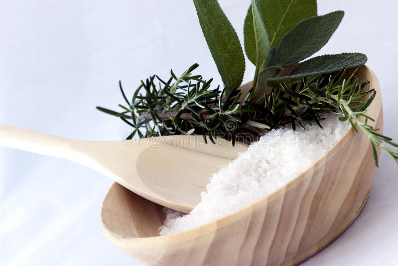 Aromatherapy - Bath Salt, Sage And Rosemary Stock Images